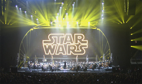 massive screen coming to life with a video introduction of Star Wars: In