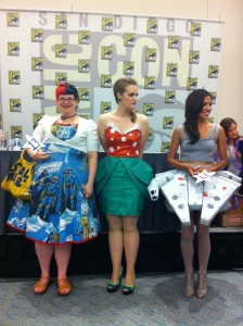 The top three! A dress made out of Vintage Star Wars curtains, a Mario Brothers cocktail dress and a Millennium Falcon dress!