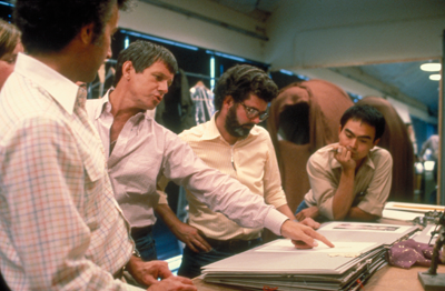 Producer Howard Kazanjian, Marquand, George Lucas, and costume designer Nilo Rodis-Jamero