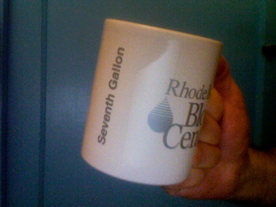 The most recent addition to Ryder Windham's collection of coffee mugs from the Rhode Island Blood Center.