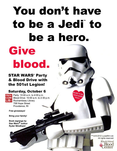 The poster for this year's Star Wars Party & Blood Drive.