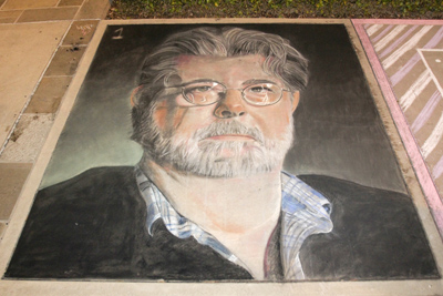 <b>Most Amazing Chalk Portrait of George Lucas... EVER!:</b> Tim Mueller <br>(Photo: Stacey Leong)