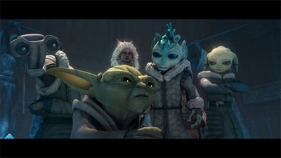 "Yoda and younglings in ""The Gathering"""