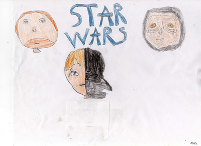 Max Schneider, age eight, sent in his Anakin Skywalker art from Canada.