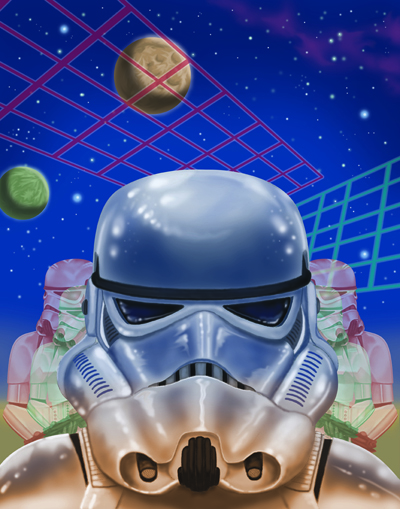 This is a piece I titled Stormtrooper Breeze, says Erick Lehtonen. My idea behind this piece was simply to create something that is visually interesting, with no real rhyme or reason behind the elements I chose.