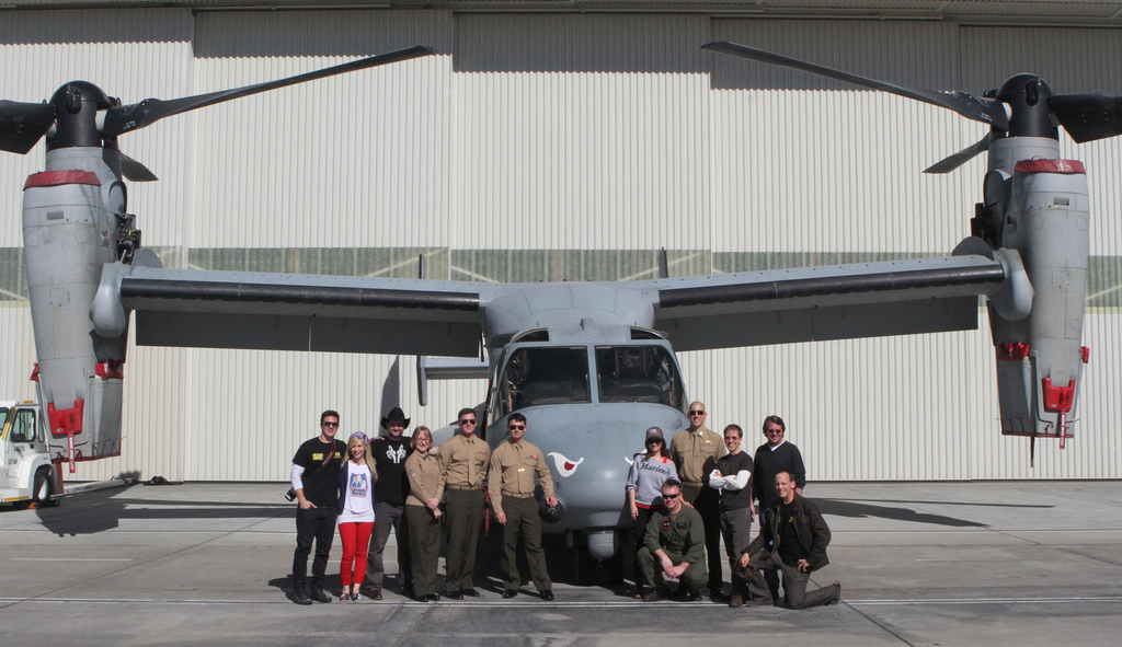 In front of an Osprey at MCAS Miramar on our USO Tour!
