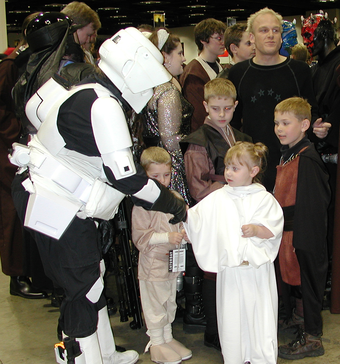 Costuming reached a whole new level, with the first official involvement of the 501st and Rebel Legions as costumed volunteers for the show. In addition to those helping out, hundreds of fans wore costumes to Celebration to immerse themselves deeper into the experience, and to help them better enjoy their time with fellow fans. Photo from the Celebration II archives.