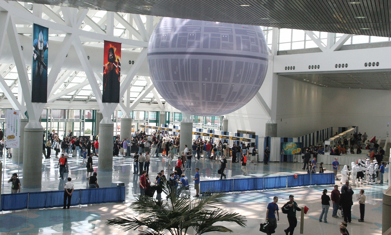 The Death Star hovered over the grand entrance to Celebration IV. Photo by Karen Louie.