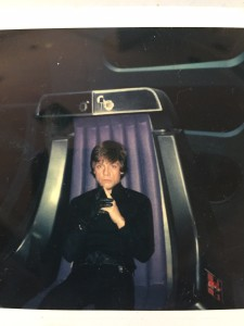 The dark side has its perks: Mark Hamill sits in the Emperor's throne.