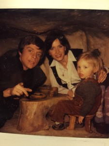 Jedi family dinner: Mark Hamill with wife Marilou and son Nathan in Yoda's hut.