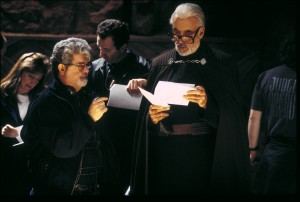 George Lucas and Christopher Lee on the set of Attack of the Clones