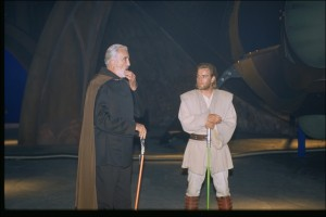 Christopher Lee talks with Ewan McGregor on the set of Attack of the Clones