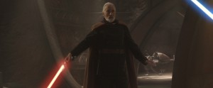 Christopher Lee as Count Dooku, ready to battle Anakin Skywalker and Obi-Wan Kenobi