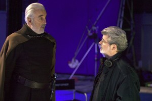 Christopher Lee and George Lucas on the set of Attack of the Clones