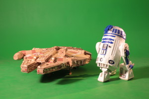 Millennium Falcon cardboard replica and R2D2