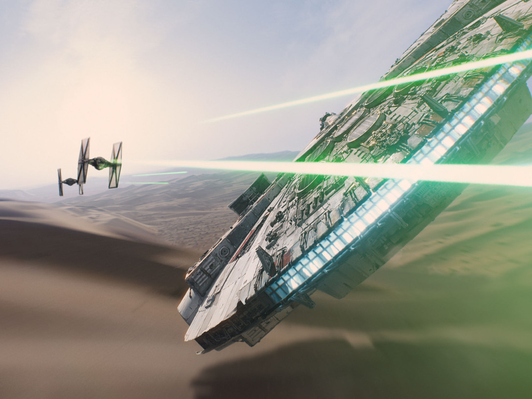 millenium falcon in The Force Awakens
