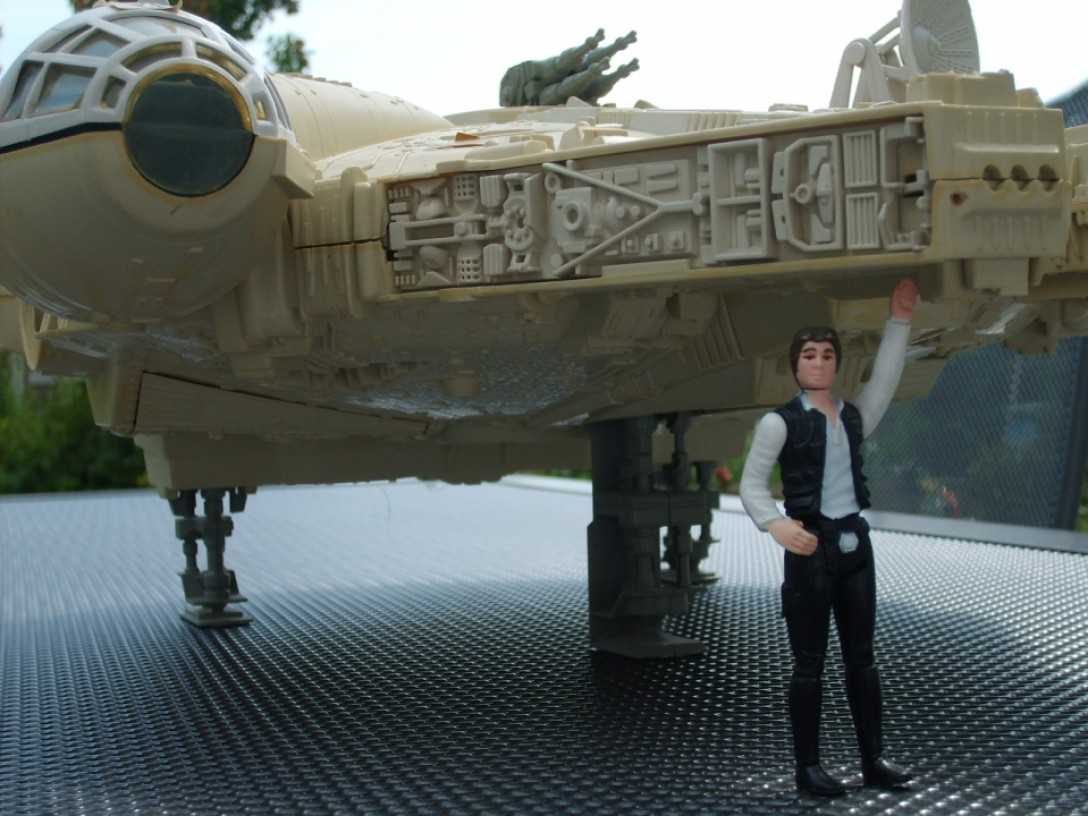Millennium Falcon toy with Han Solo figure