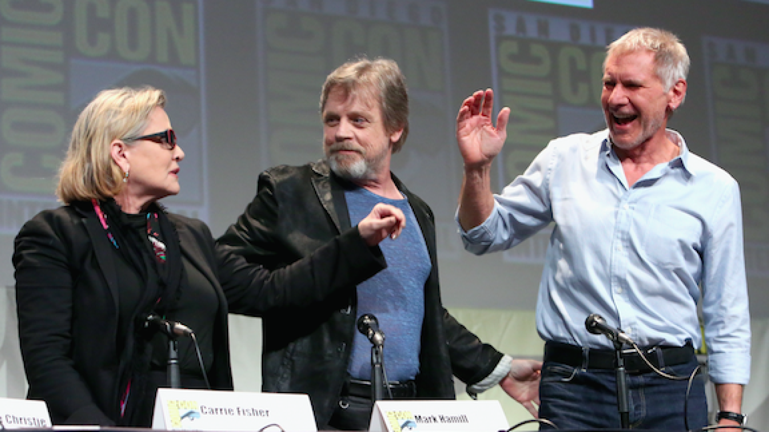 Carrie Fisher, Mark Hamill and Harrison Ford at San Diego Comic-Con 2015