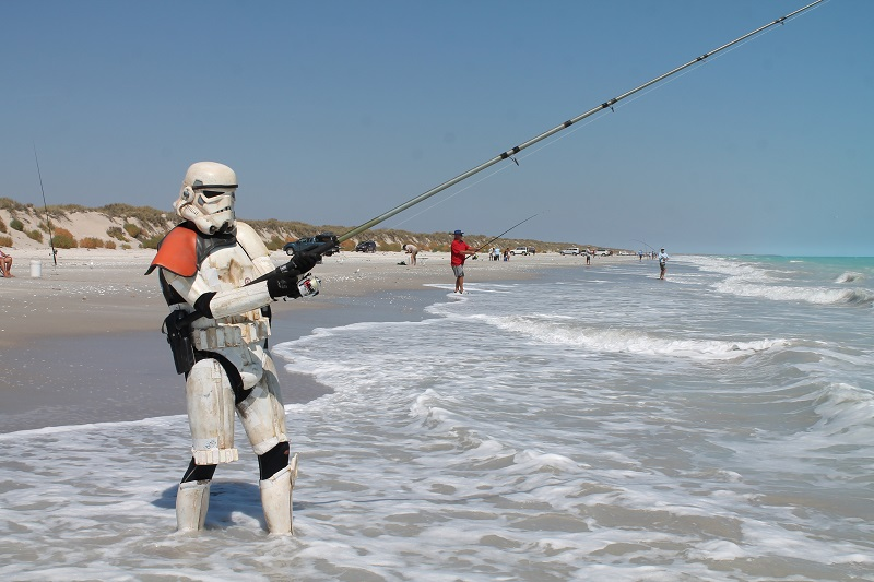 Scott Loxley fishing in stormtrooper armor.