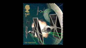 Death Star and TIE fighter stamp