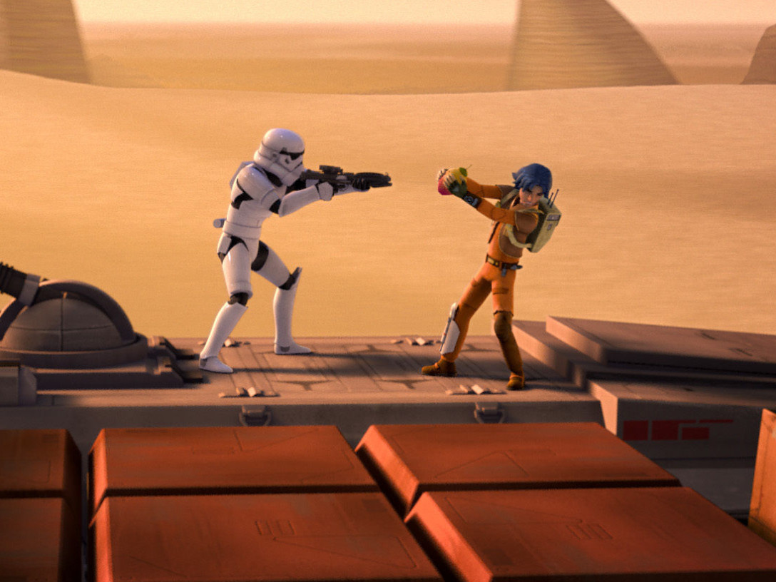 Stormtrooper and Ezra battle over a meiloorun