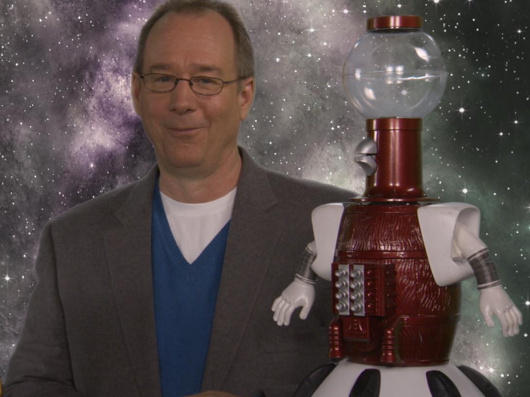 Joel Hodgson with Tom Servo and Crow