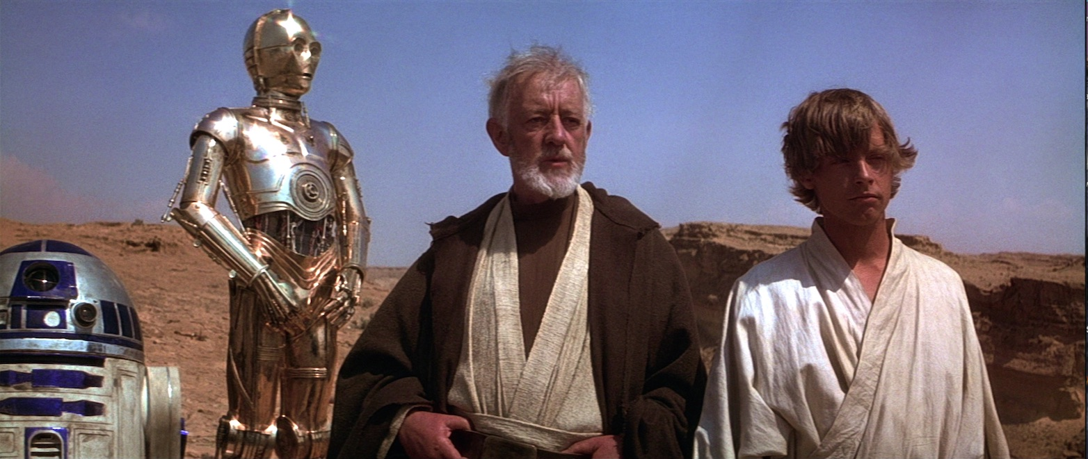 A New Hope - Luke, Ben Kenobi, C-3PO, R2-D2 on Tatooine
