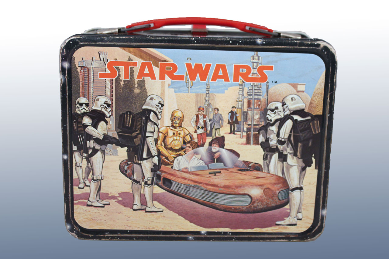 ... Your Own Star Wars Lunch Kitu201d released in 1977. It came with a light blue plastic lunchbox and a sheet of character and logo stickers that you apply. & Back To School with Vintage Star Wars Lunch Boxes | StarWars.com Aboutintivar.Com