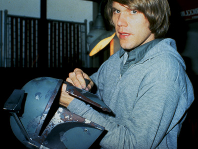 Joe Johnston, painting an original Boba Fett helmet in 1978.