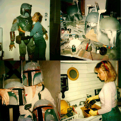 Sandy Dhuyvetter, working on original Boba Fett costumes in 1978.