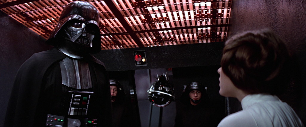 Darth Vader interrogates Leia in A New Hope