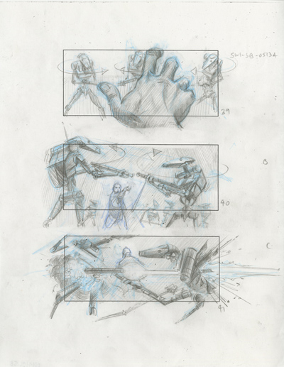 An Ed Natividad concept board depicting a Jedi assault on Theed from Episode I.