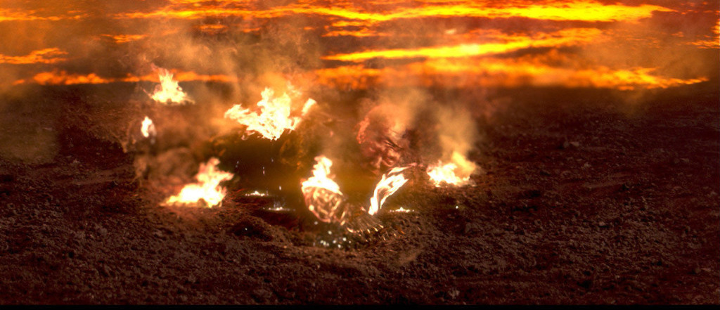 Anakin burns in Revenge of the Sith
