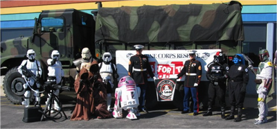 Carolina Garrison and R2-KT helping out the Marines and Toys-For-Tots