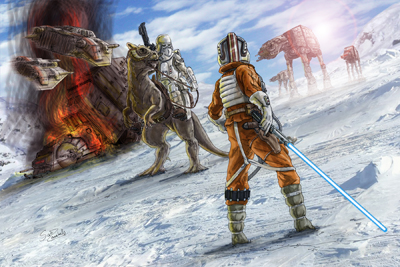 """The inspiration for this piece came from a friend of mine in the 501st Legion who posed for pictures on top of a tauntaun,"" reports Scott Zambelli. The piece is titled ""A Force to be Reckoned With."""