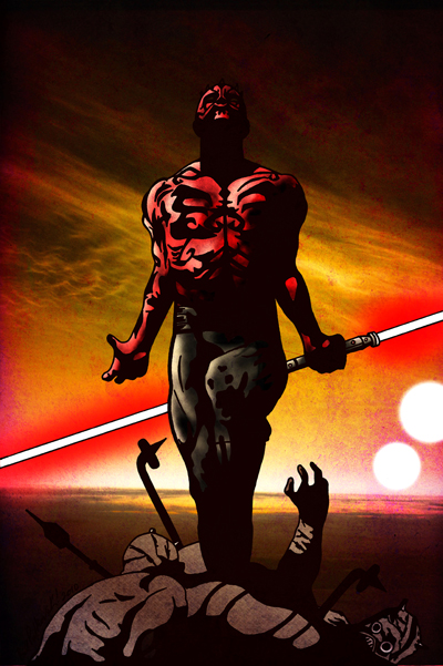 A striking original Darth Maul piece by artist Bill Pulkovski.