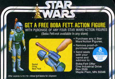 The cardback ad for Boba Fett with rocket-firing backpack
