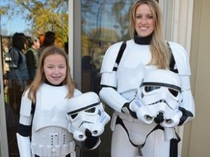 Katie Goldman wearing Stormtrooper armor courtesy of the 501st.