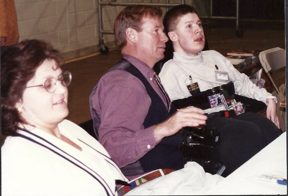 """Left to right: Make-A-Wish rep, John """"Dak"""" Morton and Ben chatting with fans, 1997 Hackensack <i>Star Wars</i> convention."""