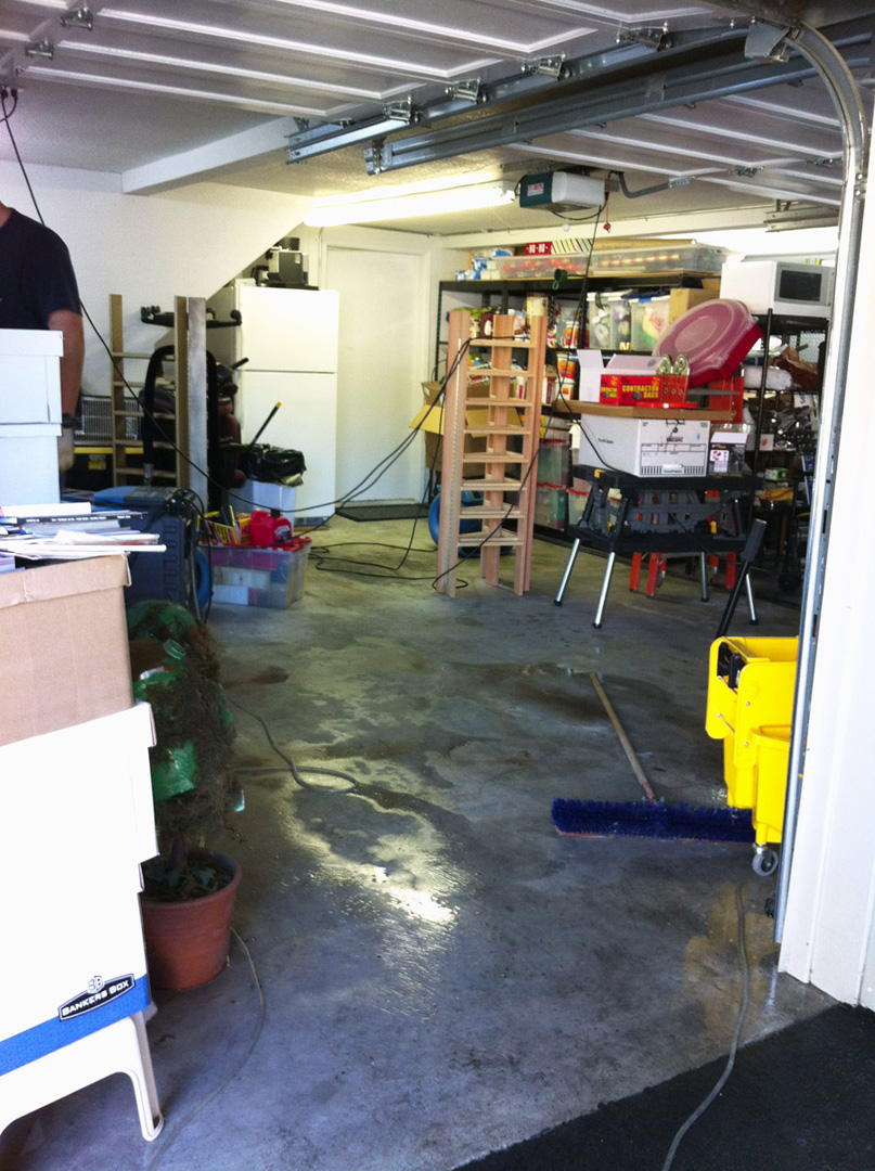 The garage starting to dry out