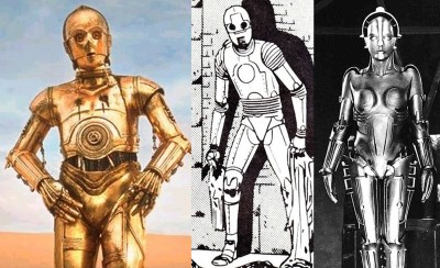 Left to right: C-3PO, Robot E-1 and Maria.