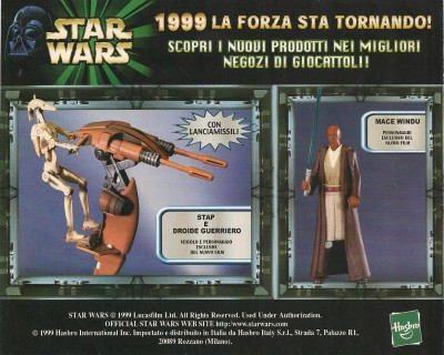 """Back cover: an Italian advertisement for Hasbro's """"Episode I Sneak Preview"""" action figures."""