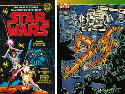 Marvel's Lee-introduced film adaptation (left) and Topps' Ditko-illustrated card.