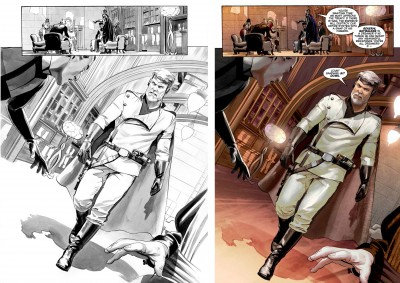 The Star Wars page 15 inks and final version.
