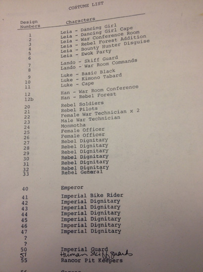 Return of the Jedi costume list