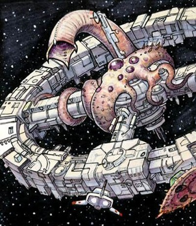 "The <em>Jubilee Wheel</em> meets its end by a <em>qworlth skaal</em>, the Yuuzhan Vong ""dread weapon."""