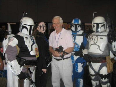 The original Boba Fett, Jeremy Bulloch, with the Mandalorian Mercs.
