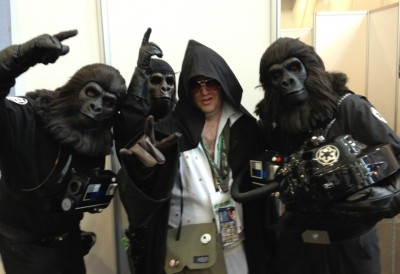 "Greig ""Darth Elvis"" Robertson poses with the Planet of the Apes TIE pilots."