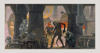 Mos Eisley cantina standoff by Ralph McQuarrie. Concept art for A New Hope.