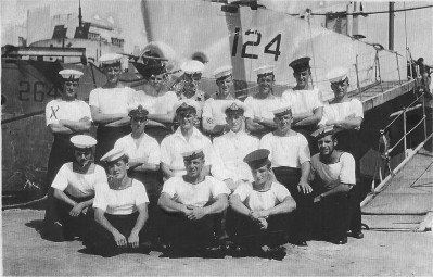 Alec Guinness (center row third from right) with his landing craft and crew